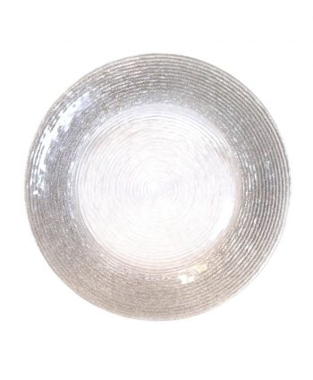 Silver Glitter Rim Spiral Glass Charger