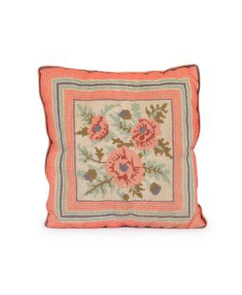 Pink Rose Needlepoint Pillow