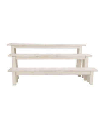 8' Whitewashed Bench