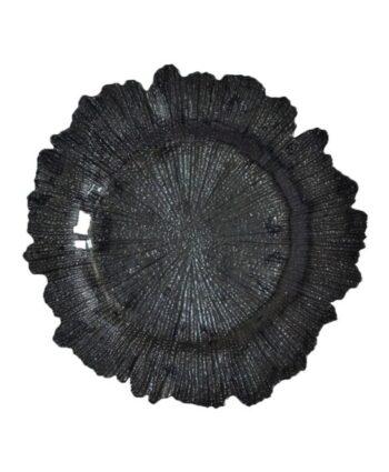 Black Sea Sponge Glass Charger