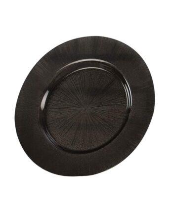 Black Starburst Glass Charger