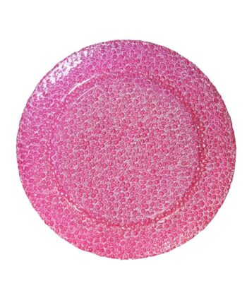 Pink Rose Glass Charger