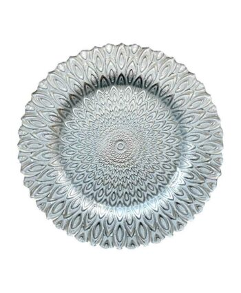 Silver & White Petal Charger