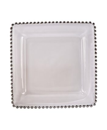 Square Silver Belmont Glass Charger