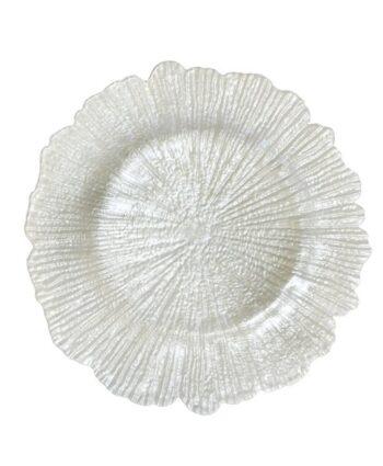 White Sea Sponge Glass Charger